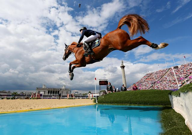 LONDON, ENGLAND - AUGUST 06: Henrik Von Eckermann of Sweden riding Allerdings competes in the 3rd Qualifier of Individual Jumping on Day 10 of the London 2012 Olympic Games at Greenwich Park on August 6, 2012 in London, England. (Photo by Alex Livesey/Getty Images)