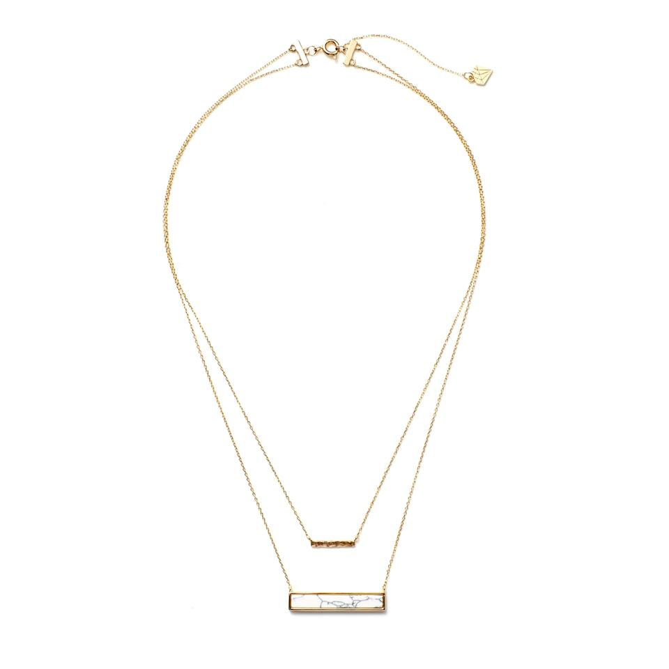 """<p>We love the choker as much as the next girl, but you have to admit that two necklaces are better than one. Especially when they have this cool marble detail, amiright?</p> <p>Wanderlust and Co. Multistring Marble Necklace. <a rel=""""nofollow"""" href=""""https://www.rocksbox.com/featured/wanderlust-co/necklace/Marble-Bar-Layered-Necklacet/6044?mbid=synd_yahoostyle"""">rockbox.com</a>.</p>"""