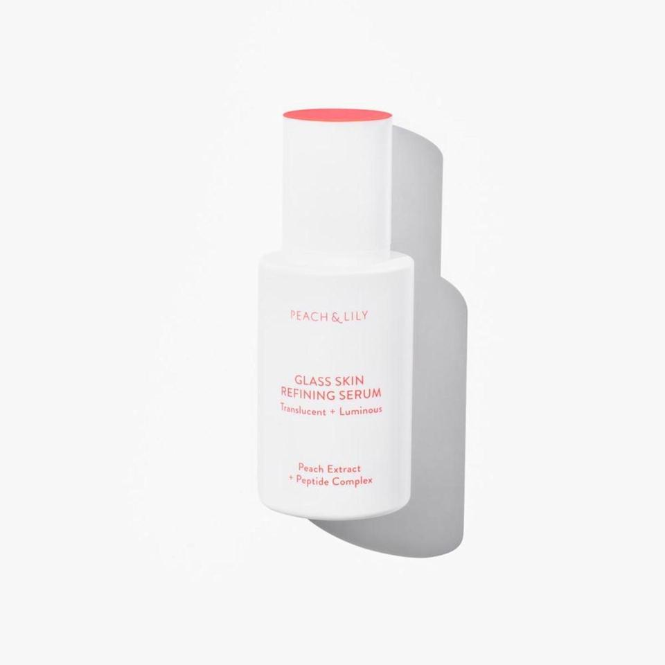 "<p>This serum from K-beauty brand Peach & Lily was created as a one-stop-shop for the radiant, almost transparent-looking skin trend known as <a href=""https://www.allure.com/story/viral-glass-skin-skin-care-routine?mbid=synd_yahoo_rss"" rel=""nofollow noopener"" target=""_blank"" data-ylk=""slk:&quot;glass skin&quot;"" class=""link rapid-noclick-resp"">""glass skin""</a>. It contains <a href=""https://www.allure.com/story/what-is-hyaluronic-acid-skin-care?mbid=synd_yahoo_rss"" rel=""nofollow noopener"" target=""_blank"" data-ylk=""slk:hydrating hyaluronic acid"" class=""link rapid-noclick-resp"">hydrating hyaluronic acid</a>, redness-reducing niacinamide, and enriching peach extract to make skin as shiny and vivid as a pane of glass.</p> <p><strong>$39</strong> (<a href=""https://shop-links.co/1704455071286967624"" rel=""nofollow noopener"" target=""_blank"" data-ylk=""slk:Shop Now"" class=""link rapid-noclick-resp"">Shop Now</a>)</p>"
