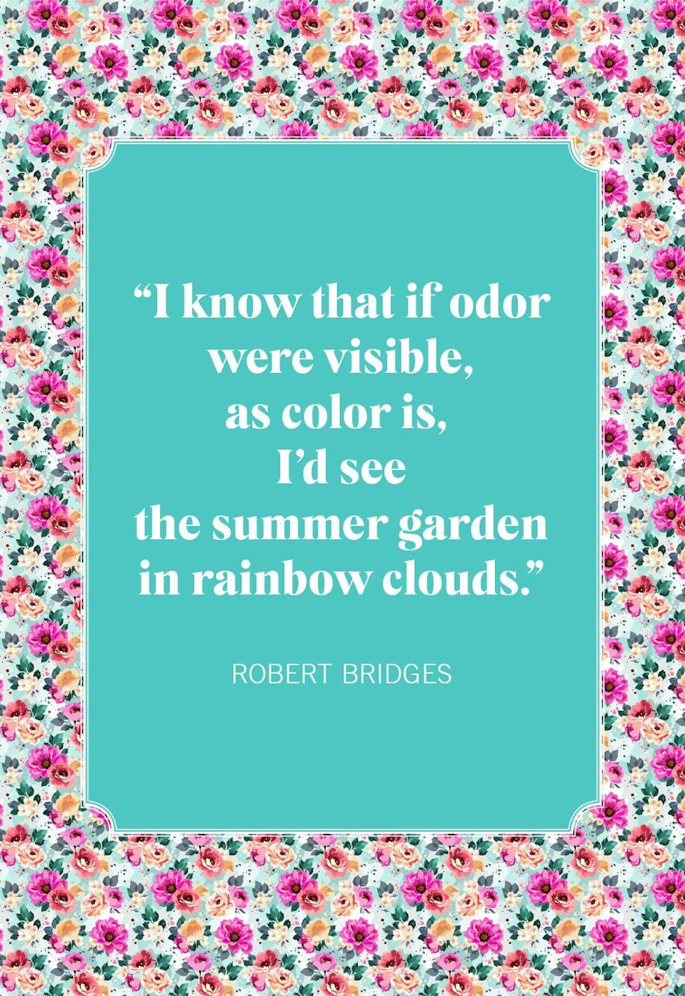 """<p>""""I know that if odor were visible, as color is, I'd see the summer garden in rainbow clouds."""" </p>"""