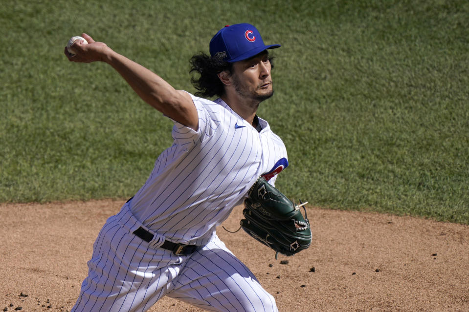 Chicago Cubs starting pitcher Yu Darvish throws during the first inning in Game 2 of a National League wild-card baseball series against the Miami Marlins Friday, Oct. 2, 2020, in Chicago. (AP Photo/Nam Y. Huh)
