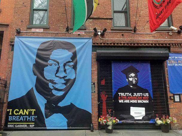 PHOTO: A memorial to Eric Garner outside film director Spike Lee's studio in Fort Greene, Brooklyn; Eric Garner died July 2014 after being arrested by police who used a chokehold, his death sparking widespread outrage. (Epics/Getty Images)