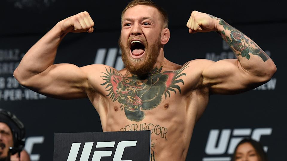 Conor McGregor, pictured here at MGM Grand Conference Centre in 2016.