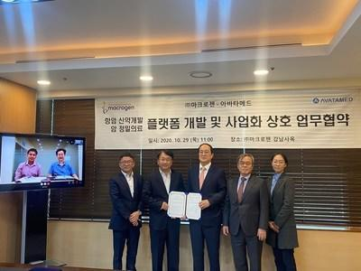 From left: AVATAMED CEO Hong Boon Toh, Macrogen APAC CEO Dr. Kap-Seok Yang, Macrogen Global Innovation Office SVP Dr. Bryan Sangjoon Hwang, AIMEDBIO CEO Prof. Do-Hyun Nam, Macrogen Chairman Dr. Jeong-Sun Seo, AVATAMED Application Scientist Miseol Son.