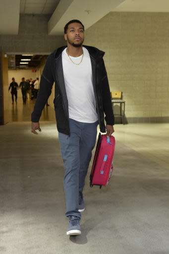 Milwaukee, WI - APRIL 26: Sterling Brown #23 of the Milwaukee Bucks arrives to the arena prior to Game Six of Round One of the 2018 NBA Playoffs against the Boston Celtics on April 26, 2018 at the BMO Harris Bradley Center in Milwaukee, Wisconsin. (Photo by David Dow/NBAE via Getty Images)