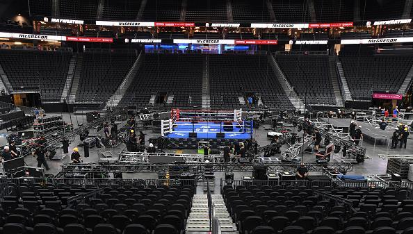 Workers set up at T-Mobile Arena ahead of the weigh-in and bout between boxer Floyd Mayweather Jr. and UFC lightweight champion Conor McGregor on August 26. (Ethan Miller/Getty Images)