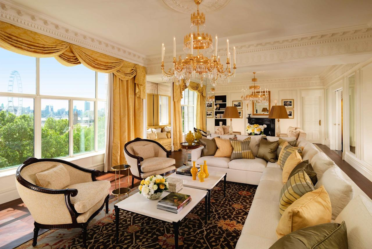 """<p><span>Of course <a rel=""""nofollow"""" href=""""http://www.fairmont.com/savoy-london/"""">this classic</a> makes our list - it's one of the most sumptuous and central hotels in the capital. It has 267 luxury rooms and suites, the most expensive being the Royal Suite, which opened in July 2016. It costs the eye-watering sum of </span><b>£14,000 </b><span>per night - which doesn't even include breakfast. However, you do get the entire fifth floor, plus a butler and chauffeur service, a personal stylist, makeup artist and free clothes pressing. [Photo: fairmont.com]</span> </p>"""