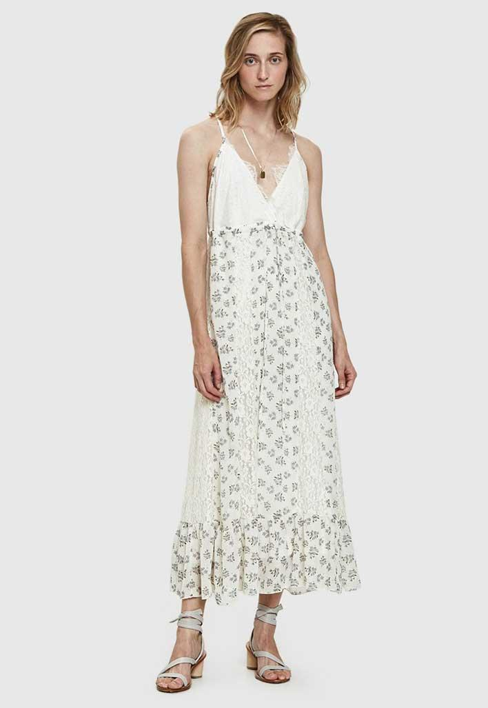 White and lacy floral maxi dress.