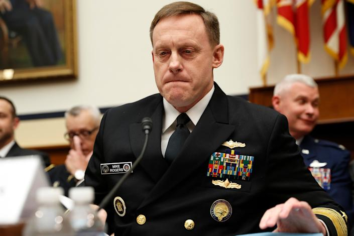 Then-National Security Agency Director Adm. Michael S. Rogers pauses while testifying on Capitol Hill in Washington, Tuesday, May 23, 2017. (AP Photo/Pablo Martinez Monsivais)