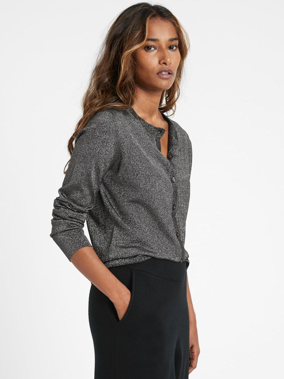 <p>It might not be a Zoom party, just work from home around the season and you want to add a little shine? Try this <span>Banana Republic Metallic Cardigan Sweater</span> ($72, originally $90)!</p>