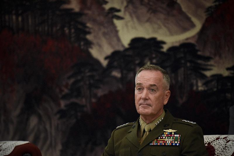 General Joseph Dunford's term as chairman of the US Joint Chiefs of Staff is scheduled to end in October 2019 (AFP Photo/WANG ZHAO)