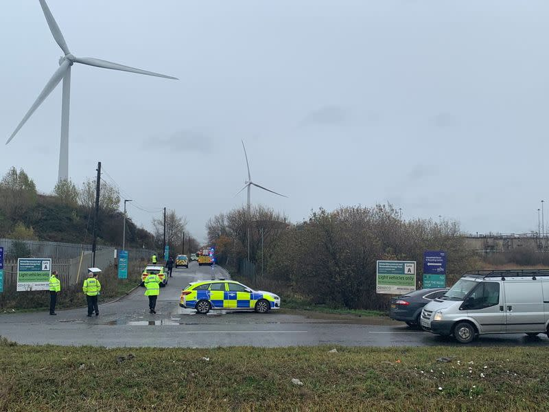 Emergency responders are seen on the scene of a blast in a warehouse in Avonmouth near Bristol