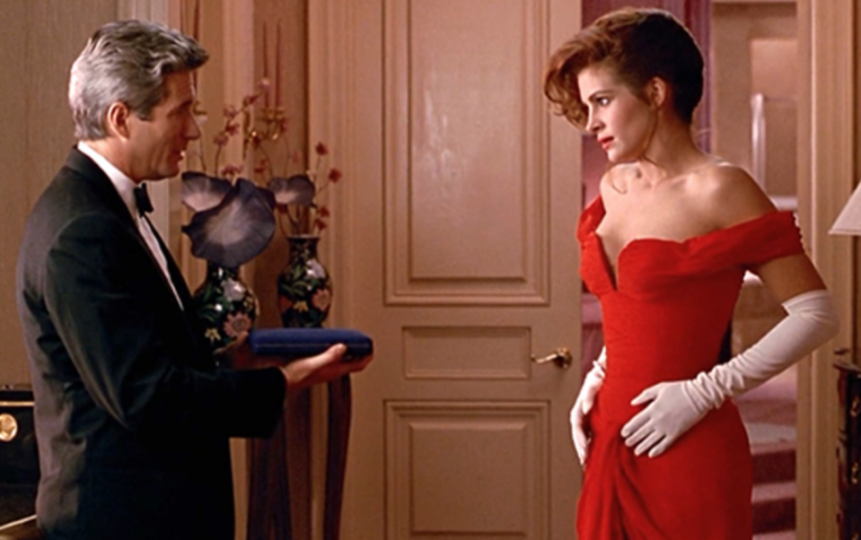 <p>There are too many fashion moments in <em>Pretty Woman </em>to count, so we'll just give credit where credit is due: to Vivian's most glam moment. The off-the-shoulder evening gown she wears to the opera is red hot.</p>