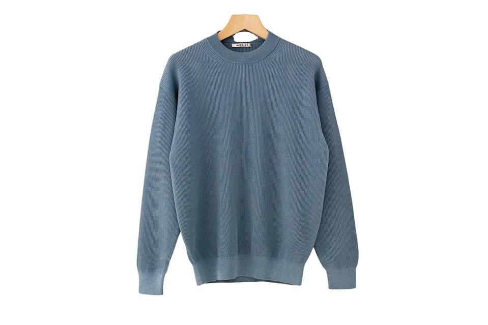 """$565, CHCM. <a href=""""https://chcmshop.com/collections/all/products/auralee-flat-yarn-rib-knit-pullover-blue"""" rel=""""nofollow noopener"""" target=""""_blank"""" data-ylk=""""slk:Get it now!"""" class=""""link rapid-noclick-resp"""">Get it now!</a>"""