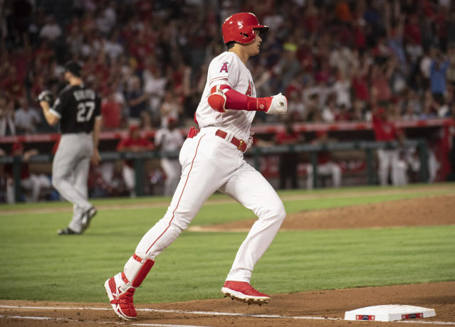 Los Angeles Angels' Shohei Ohtani rounds the bases after hitting a solo home run during the fourth inning of a baseball game against the Chicago White Sox in Anaheim, Calif., Monday, July 23, 2018. (AP Photo/Kyusung Gong)