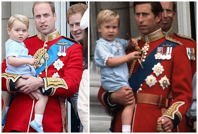 Prince George pictured with Prince William at Trooping the colour 2016 (left) and baby Prince William with Prince Charles at Trooping the Colour 1984 (right)