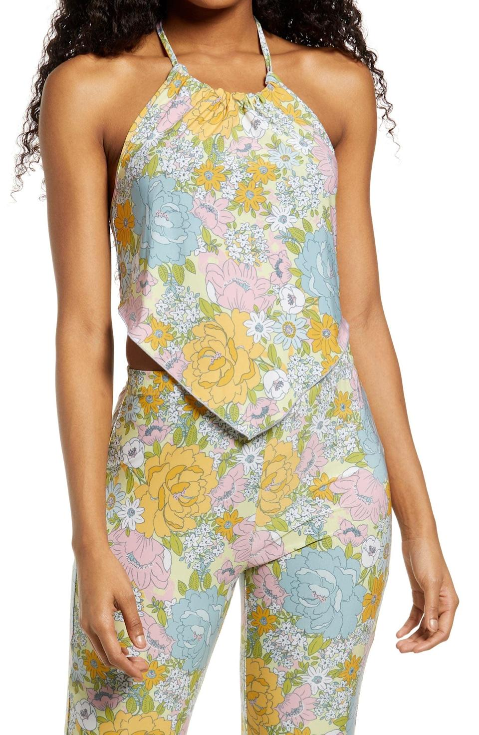 <p>This <span>WAYF Rosetta Floral Halter Top</span> ($39) will look good with all your bottoms.</p>