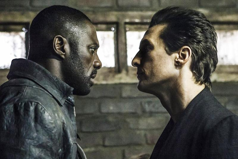 Idris Elba as Roland and Matthew McConaughey as the Man in Black in <em>The Dark Tower.</em>