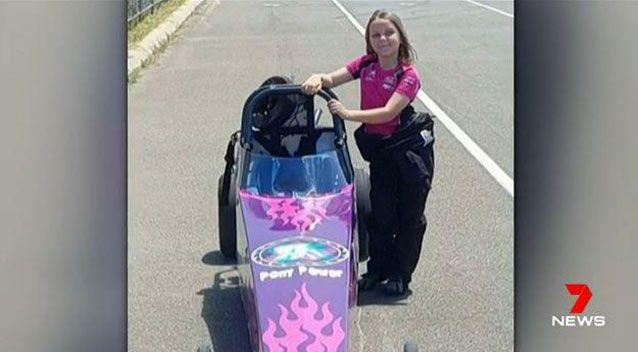 Anita Board, eight, died on the weekend after crashing her dragster. Picture: 7 News