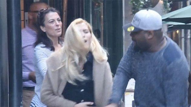 This is the shocking moment the actor punches the girlfriend in the face. Photo: Trollstation