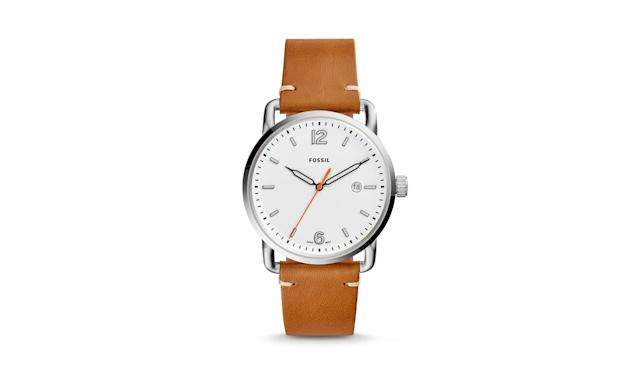 "<p>The Commuter Three-Hand Date light brown leather watch, $95, <a href=""https://www.fossil.com/us/en/products/the-commuter-three-hand-date-light-brown-leather-watch-sku-fs5395p.html"" rel=""nofollow noopener"" target=""_blank"" data-ylk=""slk:fossil.com"" class=""link rapid-noclick-resp"">fossil.com</a> </p>"