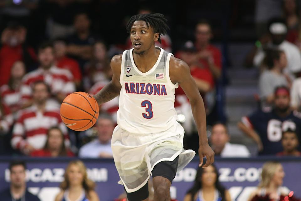 Mar 5, 2020; Tucson, Arizona, USA; Arizona Wildcats guard Dylan Smith (3) dribbles the ball against the Washington State Cougars in the second half at McKale Center. Mandatory Credit:
