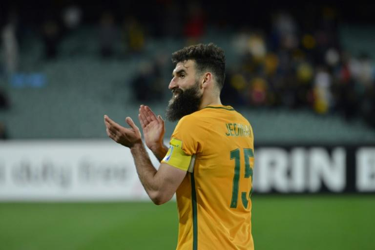 Mile Jedinak of Australia acknowledges the crowd after winning their 2018 FIFA World Cup Asian qualifying match against Saudi Arabia, in Adelaide, on June 8, 2017