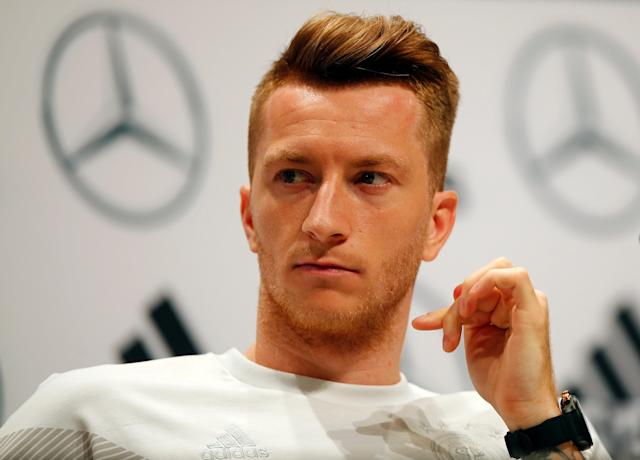 Soccer Football - World Cup - Germany Press Conference - Germany Training Camp, Moscow, Russia - June 25, 2018 Germany's Marco Reus during the press conference REUTERS/Axel Schmidt