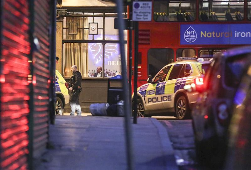 Police emergency services are seen at the Streatham High Road stabbing incident.