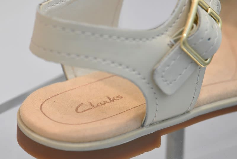 FILE PHOTO: A Clarks shoe is seen in a window display in west London, Britain