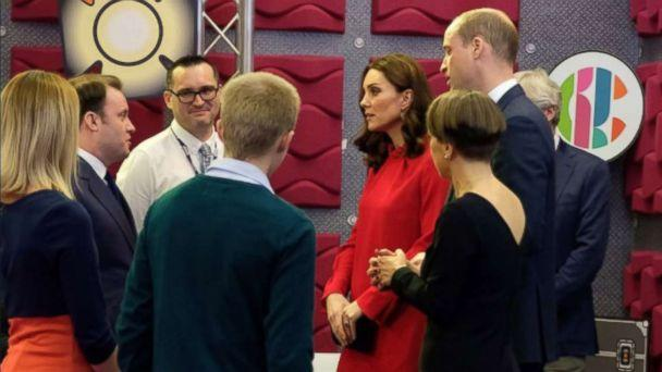 "PHOTO: Kate Middleton and Prince William visit the BBC Children's department to see how the BBC runs interactive workshops called ""Stepping Out"" sessions during the Children's Global Media Summit in Manchester, U.K., Dec. 6, 2017. (Kensington Palace/Twitter)"