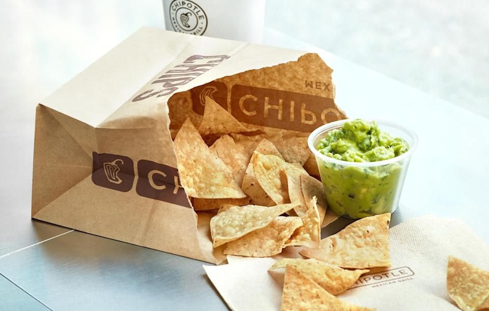 """<p>If you have chips, you have to have guacamole for dipping. Get your <a href=""""https://www.thedailymeal.com/cook/25-essential-kitchen-tools-gallery?referrer=yahoo&category=beauty_food&include_utm=1&utm_medium=referral&utm_source=yahoo&utm_campaign=feed"""" rel=""""nofollow noopener"""" target=""""_blank"""" data-ylk=""""slk:chef's knife and cutting board"""" class=""""link rapid-noclick-resp"""">chef's knife and cutting board</a> ready to chop the ingredients, and then let your kids do the mixing.</p> <p><a href=""""https://www.thedailymeal.com/recipes/chipotle-guacamole-recipe-0?referrer=yahoo&category=beauty_food&include_utm=1&utm_medium=referral&utm_source=yahoo&utm_campaign=feed"""" rel=""""nofollow noopener"""" target=""""_blank"""" data-ylk=""""slk:For the Chipotle Guacamole recipe, click here."""" class=""""link rapid-noclick-resp"""">For the Chipotle Guacamole recipe, click here.</a></p>"""