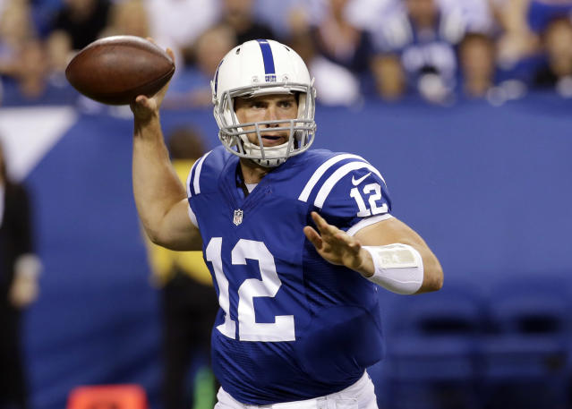 Indianapolis Colts quarterback Andrew Luck throws against the New Orleans Saints during the first half of an NFL preseason football game in Indianapolis, Saturday, Aug. 23, 2014. (AP Photo/AJ Mast)
