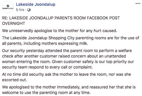 Lakeside Joondalup offered an apology but denied Mrs Cramp had been escorted out of the room. Source: Facebook/Lakeside Joondalup Shopping Centre