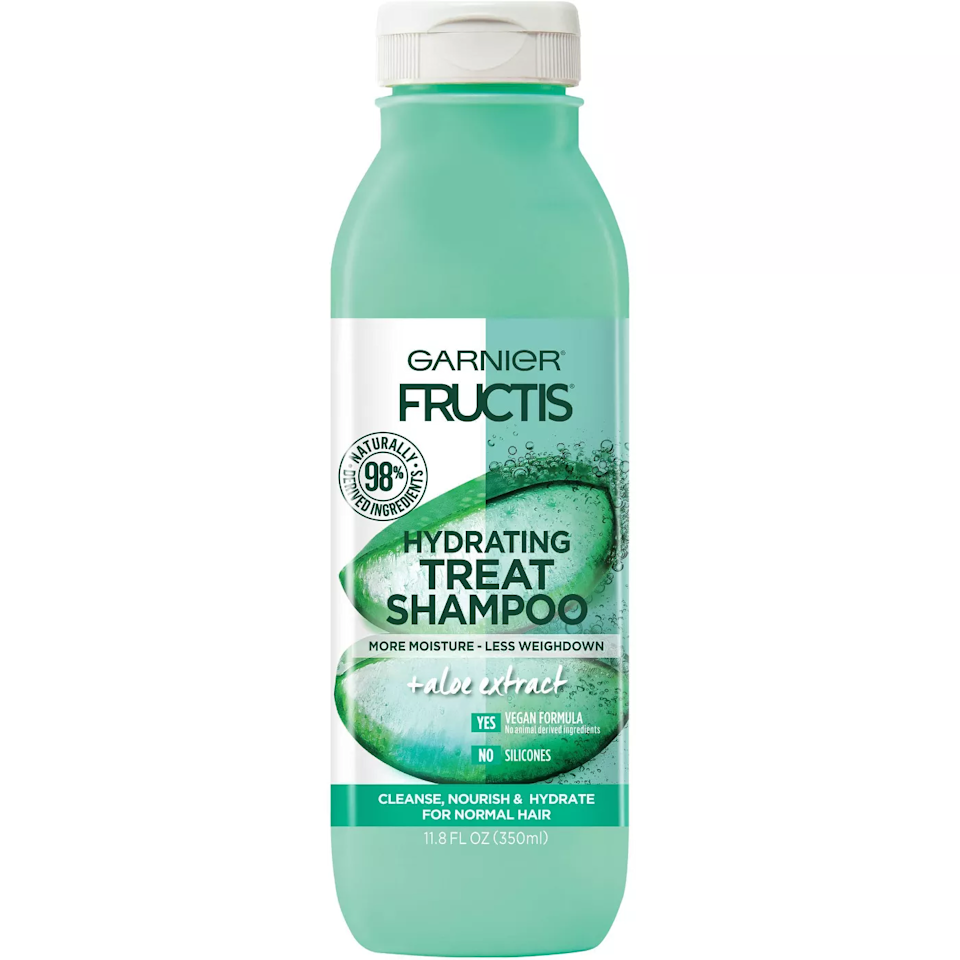 """<p>A member of Garnier's new Treat hair-care collection, Hydrating Treat Shampoo relies on aloe extract to ensure hair is fully moisturized and fully cleansed — no heavy, gooey residue left behind. The aloe is just one example of the formula's 98-percent naturally derived and 100-percent vegan ingredients, making it a feel-good shampoo in more than one way.</p> <p><strong>$6</strong> (<a href=""""https://www.target.com/p/garnier-fructis-treats-aloe-shampoo-350ml/-/A-76559012"""" rel=""""nofollow"""">Shop Now</a>)</p>"""
