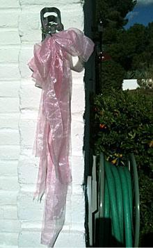 A pink ribbon commemorating Christina-Taylor Green hangs outside of the Green household in Tucson, Ariz