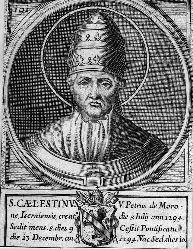 Circa 1294, Pietro di Morrone, became Pope Celestine V, (1215 - 1296), who held office as pope for 5 months in 1294, then resigned. (Photo by Hulton Archive/Getty Images)
