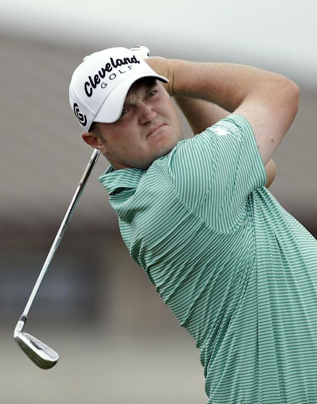Jason Kokrak tees off on the first hole during the final round of the Arnold Palmer Invitational golf tournament at Bay Hill, Sunday, March 23, 2014, in Orlando, Fla. (AP Photo/Chris O'Meara)