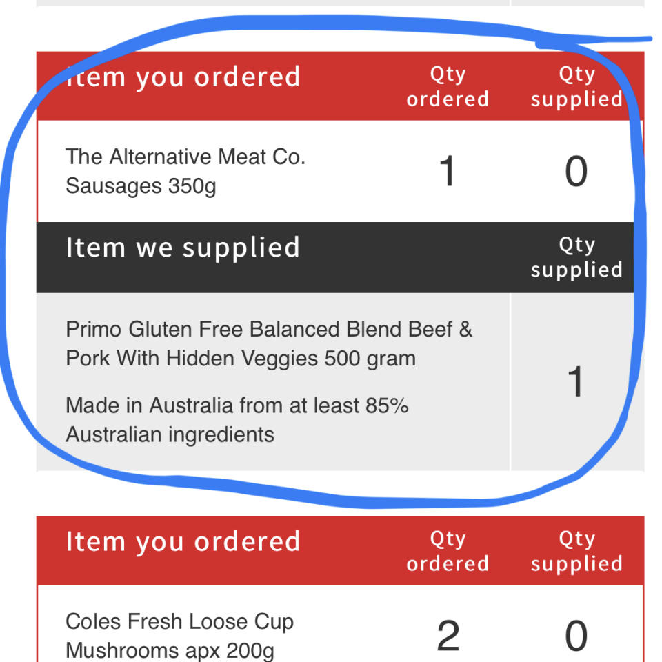 The vegetarian shopper's Coles receipt showing the supermarket had decided to substitute the meat-free sausages with beef and pork ones.