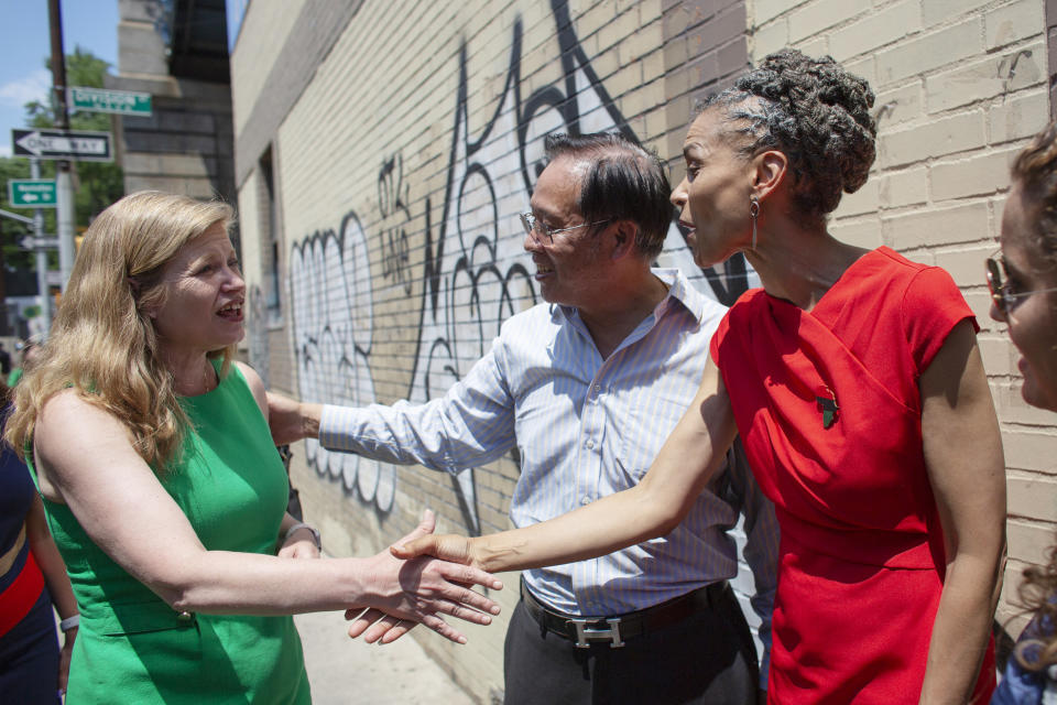Mayoral candidates Kathryn Garcia, left, and Maya Wiley greet each other at the unveiling of a mural in Chinatown on June 20 in New York City.