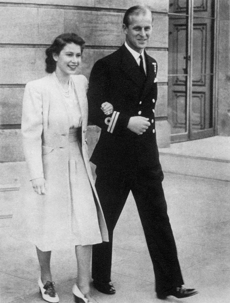 <p>Princess Elizabeth and her soon-to-be husband Philip Mountbatten, photographed soon after their engagement announcement.</p>