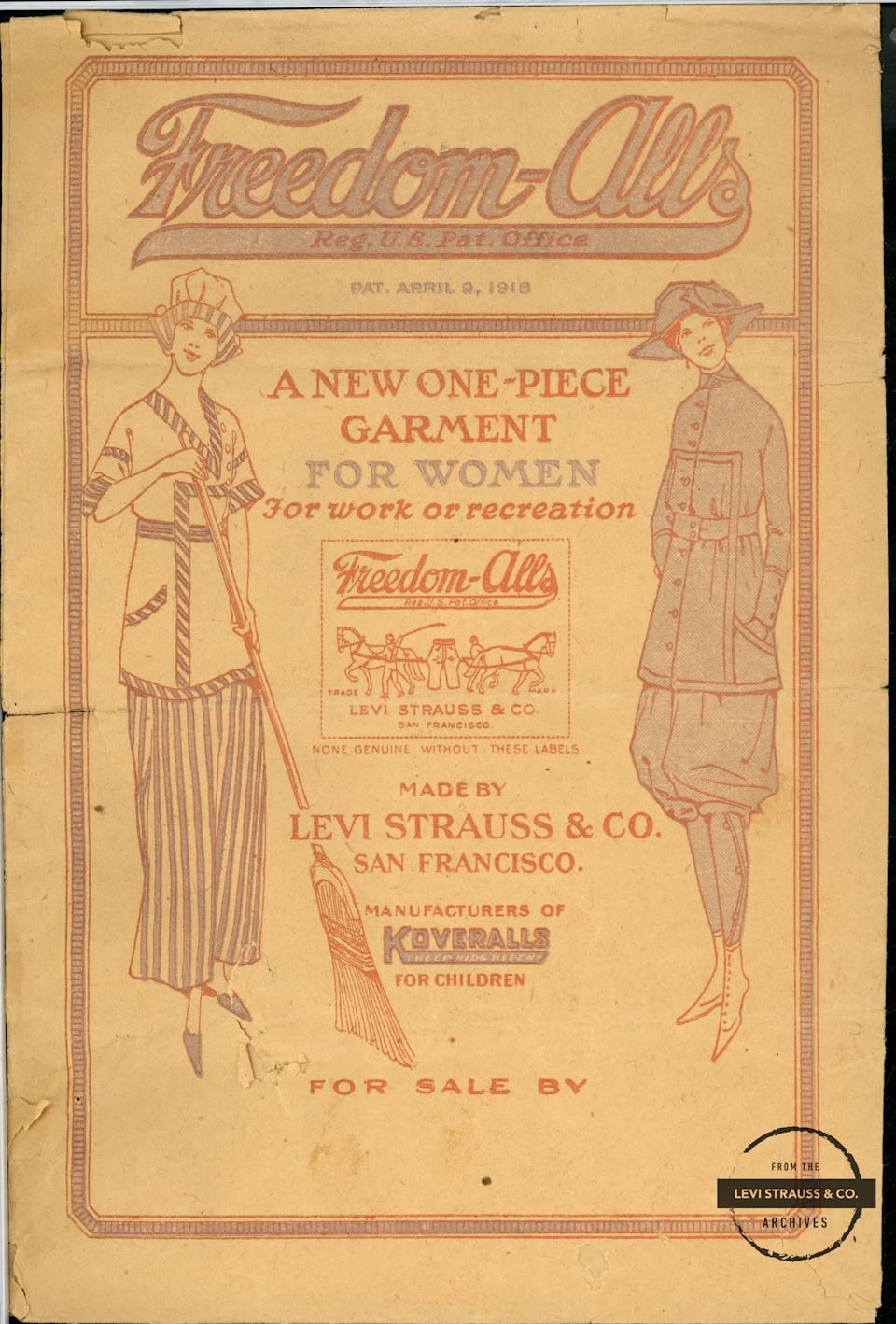 """An ad for Levi's Freedom-Alls, which debuted in 1918 as a way for women to participate more comfortably in outdoor activities at """"dude ranches,"""" which were a popular vacation choice at the time. Just over a decade later, Levi's introduced """"Lady Levi's."""" (Photo: Levi Strauss Co.)"""