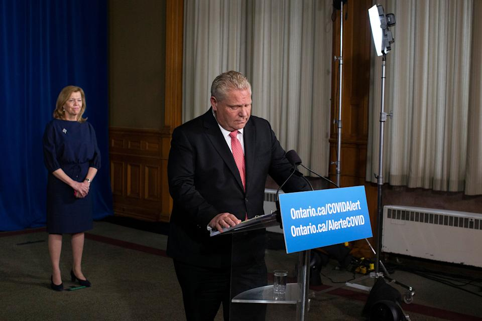 Ontario Premier Doug Ford attends a news conference at the Ontario legislature in Toronto on Nov. 25, 2020.  (Photo: Chris Young/Canadian Press)