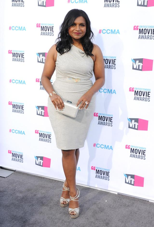 LOS ANGELES, CA - JANUARY 12: Actress Mindy Kaling arrives at the17th Annual Critics Choice Movie Awards at The Hollywood Palladium on January 12, 2012 in Los Angeles, California. (Photo by Jon Kopaloff/FilmMagic)