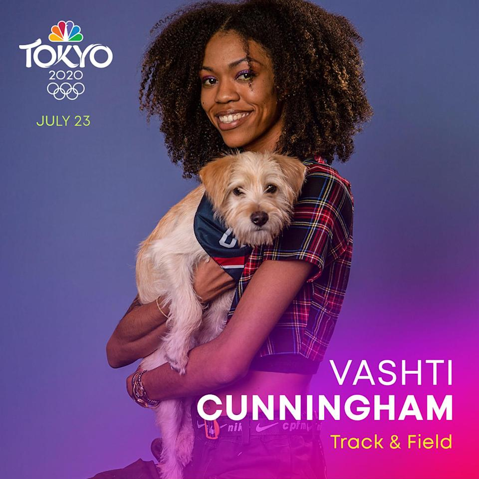 """<p><a href=""""https://www.teamusa.org/usa-track-and-field/athletes/Vashti-Cunningham"""" rel=""""nofollow noopener"""" target=""""_blank"""" data-ylk=""""slk:Cunningham"""" class=""""link rapid-noclick-resp"""">Cunningham</a> is a high jumper who competed in the 2016 Rio Olympics and is now training to return to the Tokyo Summer Olympics on Team USA.</p>"""