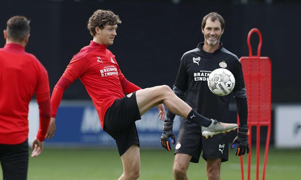 Sam Lammers trains with PSV in Eindhoven last month.