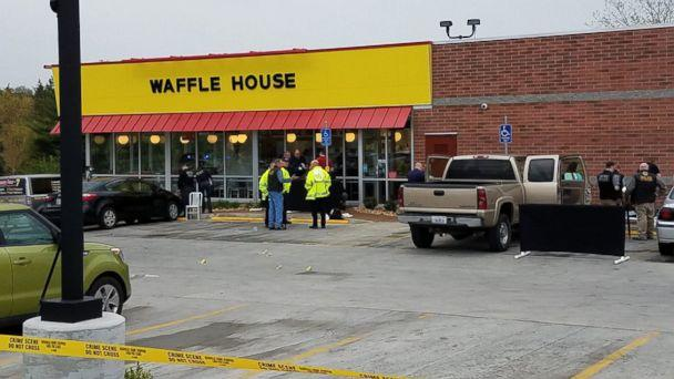 PHOTO: Metro Nashville Police Department experts investigate the scene of a shooting at a Waffle House near Nashville, Tenn., April 22, 2018. (Metro Nashville Police Department)
