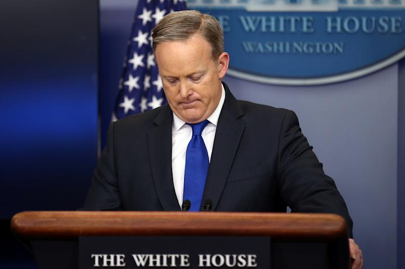Then-White House press secretary Sean Spicer sparked outrage when he inexplicablycompared the mass murders committed by Nazi Germany and the current Syrian regime. (Carlos Barria/Reuters)