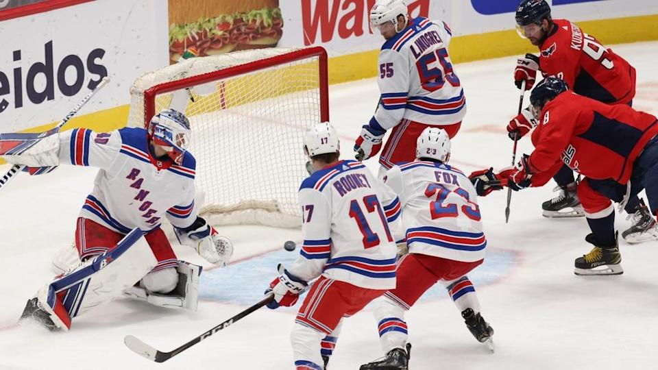 Ovechkin about to score on Rangers in DC