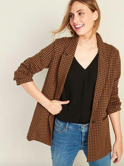 "<p>A checkered blazer is a must-have Fall staple. If you don't own one already, you're seriously missing out, as they serve as the perfect top layer to polish off even the most casual looks. The oversize silhouette of <a href=""https://www.popsugar.com/buy/one-476258?p_name=this%20one&retailer=oldnavy.gap.com&pid=476258&price=50&evar1=fab%3Aus&evar9=46462273&evar98=https%3A%2F%2Fwww.popsugar.com%2Ffashion%2Fphoto-gallery%2F46462273%2Fimage%2F46462276%2FBoyfriend-Blazer&list1=shopping%2Cold%20navy&prop13=mobile&pdata=1"" rel=""nofollow"" data-shoppable-link=""1"" target=""_blank"" class=""ga-track"" data-ga-category=""Related"" data-ga-label=""https://oldnavy.gap.com/browse/product.do?pid=450958012&amp;cid=1044745&amp;pcid=10018&amp;grid=pds_294_497_1#pdp-page-content"" data-ga-action=""In-Line Links"">this one</a> ($50) makes it especially modern and chic.</p>"